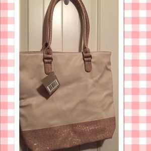 Nwt Travel Tote Bag Cream with Taupe Trim
